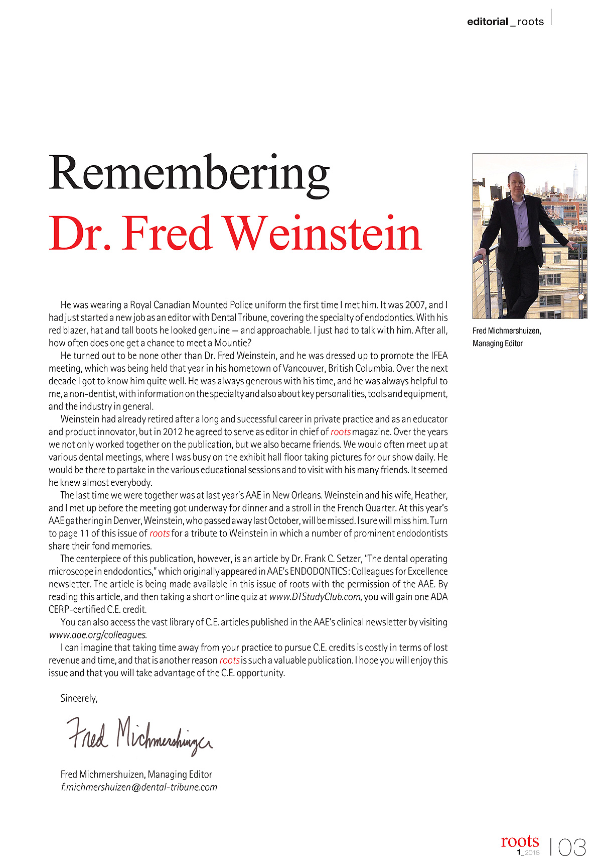 tribute to Dr Fred Weinstein