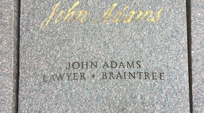 The signature of John Adams at the Declaration of Independence memorial