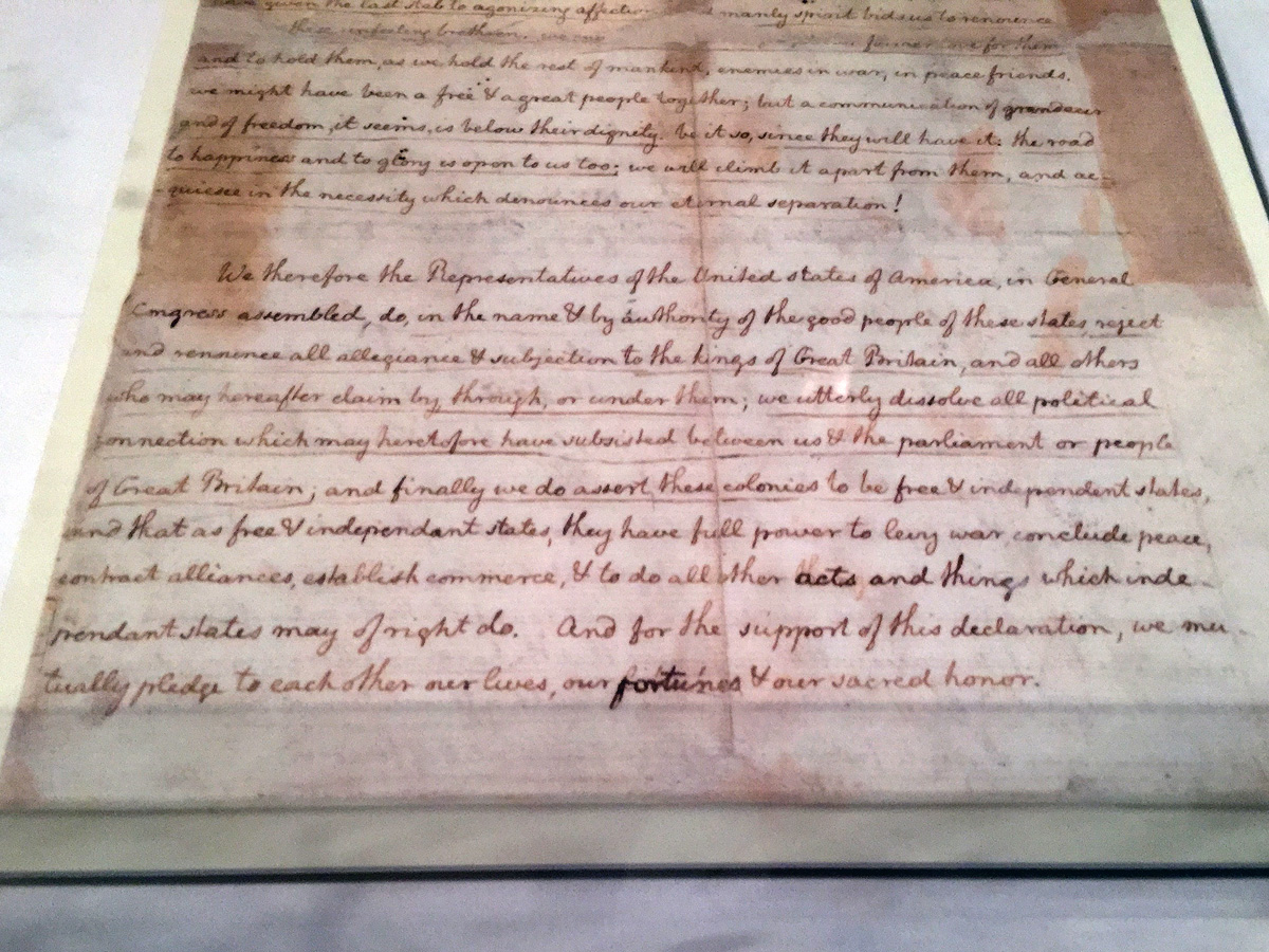 copy of Declaration of Independence in Jefferson's own hand