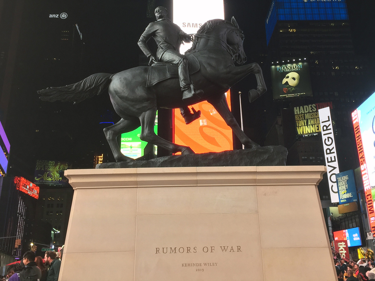 "Kehinde Wiley's ""Rumors of War"" sculpture"